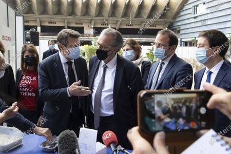 (D-G) Renaud Muselier (President of the Provence-Alpes-Cote d'Azur Region, President of Regions of France), Christian Estrosi (Mayor of Nice, President of the Metropolis Nice Cote d'Azur, Delegate President of the Provence-Alpes-Cote d'Azur Region) Visit to the Vaccinodrome at the Palais des Expositions de Nice Acropolis, Esplanade Kennedy