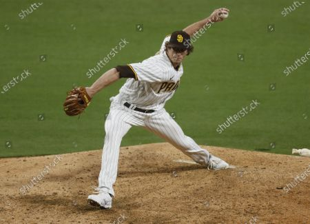 Stock Image of San Diego Padres pitcher Tim Hill throws against the Pittsburgh Pirates at Petco Park on Monday, May 3, 2021 in San Diego, CA.