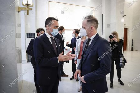 Italian Foreign Minister Luigi Di Maio (L) and German Foreign Minister Heiko Maas during a meeting at the Farnesina Palace, in Rome, Italy, 12 May 2021.