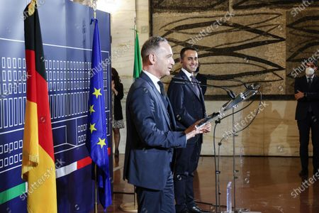Italian Foreign Minister Luigi Di Maio (R) and German Foreign Minister Heiko Maas during a meeting at the Farnesina Palace, in Rome, Italy, 12 May 2021.