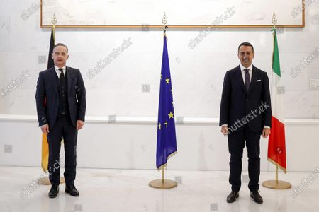 Stock Image of Italian Foreign Minister Luigi Di Maio (R) and German Foreign Minister Heiko Maas pose for a photograph prior to their meeting at the Farnesina Palace, in Rome, Italy, 12 May 2021.