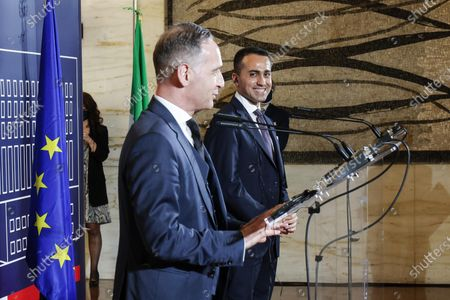 Stock Photo of Italian Foreign Minister Luigi Di Maio (R) and German Foreign Minister Heiko Maas during a meeting at the Farnesina Palace, in Rome, Italy, 12 May 2021.