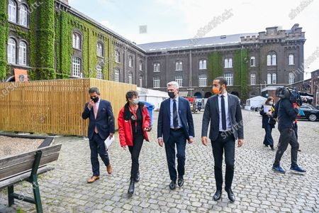 Stock Picture of Visit of Filippo Grandi, the High Commissioner for Refugees (UNHCR), to the application center for asylum seekers in Brussels in the presence of Secretary of State
