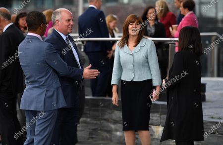 Stock Photo of Vaughan Gething MS (Welsh Labour), Andrew RT Davies MS (Welsh Conservatives), Buffy Williams MS (Welsh Labour) and Lesley Griffiths MS (Welsh Labour) during the first day of Welsh Parliament at the Senedd in Cardiff Bay.