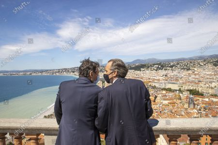 (D-G) Renaud Muselier (President of the Provence-Alpes-Cote d'Azur Region, President of Regions of France), Christian Estrosi (Mayor of Nice, President of the Metropolis Nice Cote d'Azur, Delegate President of the Region Provence-Alpes-Cote d'Azur)