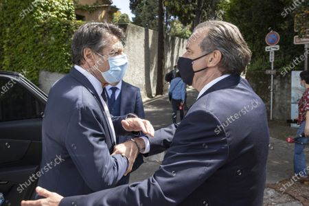 Stock Photo of (D-G) Renaud Muselier (President of the Provence-Alpes-Cote d'Azur Region, President of Regions of France), Christian Estrosi (Mayor of Nice, President of the Metropolis Nice Cote d'Azur, Delegate President of the Region Provence-Alpes-Cote d'Azur)