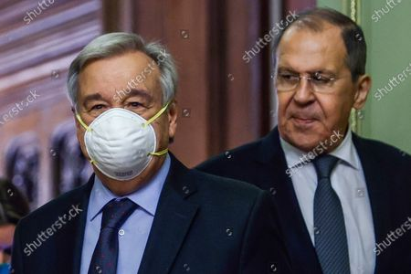 Stock Picture of Secretary-General Antonio Guterres, left, and Russian Foreign Minister Sergey Lavrov enter a hall for their joint news conference following the talks in Moscow, Russia