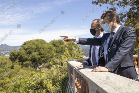 (G-D) Renaud Muselier (President of the Region Provence-Alpes-Cote d'Azur, President of Regions of France), Christian Estrosi (Mayor of Nice, President of the Metropolis Nice Cote d'Azur, Delegate President of the Region Provence-Alpes-Cote d'Azur), Colline du Chateau