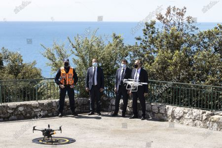 Stock Image of (D-C) Renaud Muselier (President of the Region Provence-Alpes-Cote d'Azur, President of Regions of France), Christian Estrosi (Mayor of Nice, President of the Metropolis Nice Cote d'Azur, Delegate President of the Region Provence-Alpes-Cote d'Azur), demonstration of Drones of the Municipal Police, Colline du Chateau