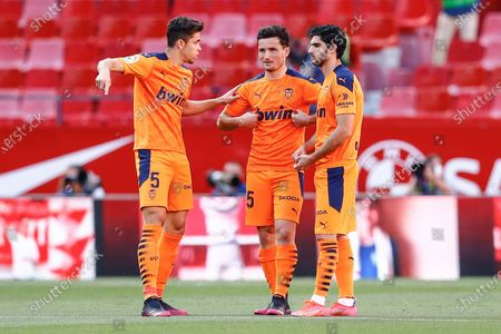 Gabriel Paulista, Hugo Guillamon and Goncalo Guedes of Valencia CF