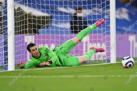 Stock Picture of Chelsea's goalkeeper Kepa Arrizabalaga takes a safe during the English Premier League soccer match between Chelsea and Arsenal at Stamford Bridge stadium in London, England