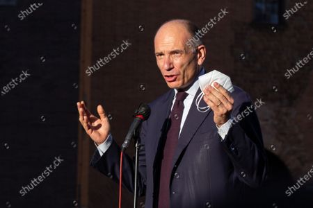 Enrico Letta, secretary of Democratic Party, speaks during demonstration inside the former ghetto of Rome organized by Jewish community of Rome in solidarity with people of Israel