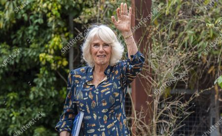Stock Picture of Britain's Camilla, the Duchess of Cornwall waves to watching staff, during a visit to the Whittington Hospital, on International Nurses' Day, in London