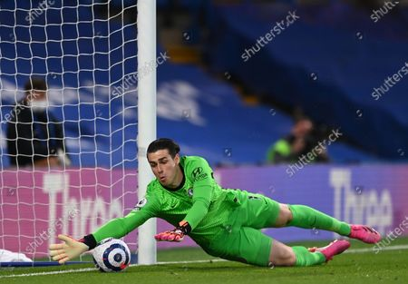 Stock Image of Chelsea goalkeeper Kepa Arrizabalaga in action during the English Premier League soccer match between Chelsea FC and Arsenal FC in London, Britain, 12 May 2021.