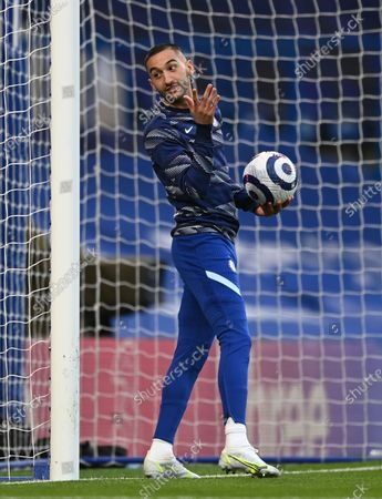 Chelsea's Hakim Ziyech in action during the warm-up ahead of the English Premier League soccer match between Chelsea FC and Arsenal FC in London, Britain, 12 May 2021.
