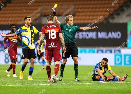 Davide Santon of AS Roma yellow card