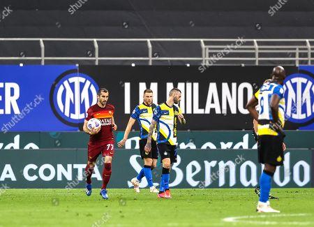 Henrikh Mkhitaryan of AS Roma celebrates after scoring a goal