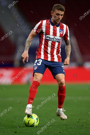 Stock Image of Kieran Trippier of Atletico Madrid controls the ball during the La Liga Santander match between Atletico de Madrid and Real Sociedad at Estadio Wanda Metropolitano on May 12, 2021 in Madrid, Spain. Sporting stadiums around Spain remain under strict restrictions due to the Coronavirus Pandemic as Government social distancing laws prohibit fans inside venues resulting in games being played behind closed doors.