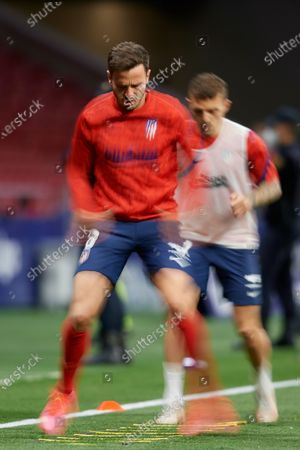 Saul Niguez of Atletico Madrid during the warm-up before the La Liga Santander match between Atletico de Madrid and Real Sociedad at Estadio Wanda Metropolitano on May 12, 2021 in Madrid, Spain. Sporting stadiums around Spain remain under strict restrictions due to the Coronavirus Pandemic as Government social distancing laws prohibit fans inside venues resulting in games being played behind closed doors.