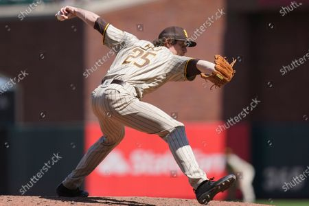 San Diego Padres' Tim Hill against the San Francisco Giants during a baseball game in San Francisco