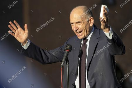 The secretary of the Democratic Party, Enrico Letta, participates at the demonstration in solidarity with Israel and against the Hamas attacks, in the Jewish ghetto district of the capital, Rome, Italy, 12 May 2021. The Jewish ghetto of Rome is among the oldest ghettos in the world and was established in 1555; it was built 40 years after that of Venice which is the first ever. In response to days of violent confrontations between Israeli security forces and Palestinians in Jerusalem, various Palestinian militants factions in Gaza launched rocket attacks since 10 May that killed at least six Israelis to date. Gaza Strip's health ministry said that at least 65 Palestinians, including 13 children, were killed in the recent retaliatory Israeli airstrikes. Hamas confirmed the death of Bassem Issa, its Gaza City commander, during an airstrike.