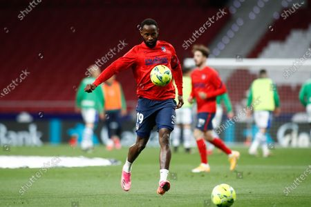 Moussa Dembele of Atletico de Madrid warms up during the spanish league, La Liga, football match played between Atletico de Madrid and Real Sociedad at Wanda Metropolitano stadium on may 12, 2021, in Madrid, Spain.