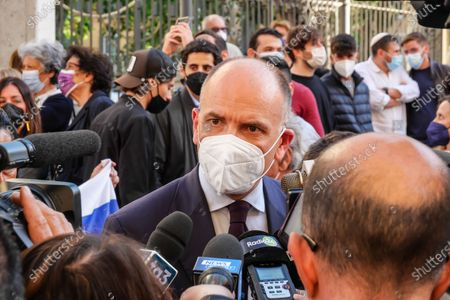 Vigil of solidarity for Israel. In the photo Enrico Letta takes part in the event