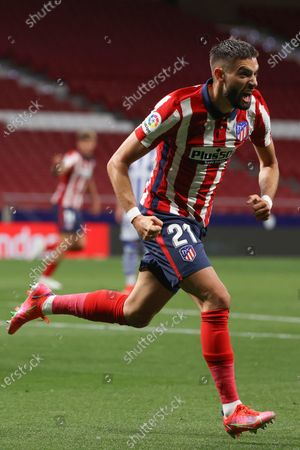 Stock Image of Atletico's winger Yannick Ferreira-Carrasco celebrates after scoring the 1-0 lead during the Spanish LaLiga soccer match between Atletico de Madrid and Real Sociedad at Wanda Metropolitano stadium in Madrid, Spain, 12 May 2021.