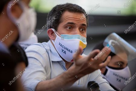 Venezuelan opposition Juan Guaido offers a press conference in Los Palos Grandes, Caracas, Venezuela, 12 May 2021. The Venezuelan opposition leader Juan Guaido did not rule out Norway as a mediator in the negotiation he seeks with the Government of Nicolas Maduro and confirmed that the representatives of the Scandinavian country, who already tried a similar process in the past, visited the nation this year twice.