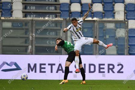 """Giorgos Kriakopoulos (Sassuolo)Danilo Luiz da Silva (Juventus)           during the Italian """"Serie A"""" match between Sassuolo 1-3 Juventus at Mapei Stadium in Reggio Emilia, Italy."""