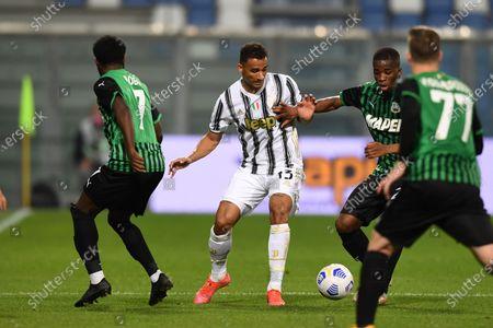 """Jeremie Boga (Sassuolo)Danilo Luiz da Silva (Juventus)Hamed Junior Traore (Sassuolo)           during the Italian """"Serie A"""" match between Sassuolo 1-3 Juventus at Mapei Stadium in Reggio Emilia, Italy."""