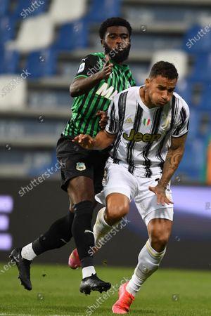 """Stock Image of Jeremie Boga (Sassuolo)Danilo Luiz da Silva (Juventus)           during the Italian """"Serie A"""" match between Sassuolo 1-3 Juventus at Mapei Stadium in Reggio Emilia, Italy."""