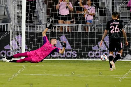 The ball gets past Inter Miami goalkeeper John McCarthy on a goal by Montreal's Bjorn Johnsen during the first half of an MLS soccer match, in Fort Lauderdale, Fla
