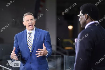 Stock Photo of Network's Kurt Warner, left, and NFL Network's Michael Irvin host the NFL 2021-22 schedule release show, in Los Angeles