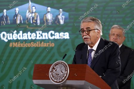 Secretary of the General Health Council, Jose Ignacio Santos Preciado speaks during Mexico's president Lopez Obrador press conference as part to celebrate National Nursing Day at National Palace on May 12, 2021 in Mexico City, Mexico.