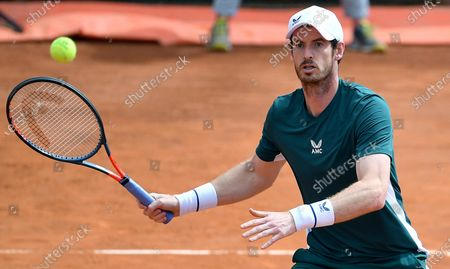 Stock Picture of Britain's Andy Murray in action during his Men's double match with Britain's Liam Broady against Germany's Kevin Krawitz and Romania's Horia Tecau at the Italian Open tennis tournament in Rome, Italy, 13 May 2021.