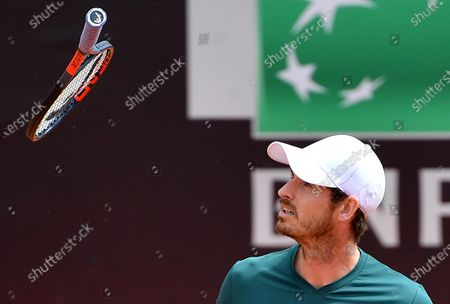 Stock Image of Britain's Andy Murray reacts during his Men's double match with Britain's Liam Broady against Germany's Kevin Krawitz and Romania's Horia Tecau at the Italian Open tennis tournament in Rome, Italy, 13 May 2021.