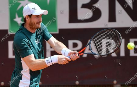 Britain's Andy Murray in action during his Men's double match with Britain's Liam Broady against Germany's Kevin Krawitz and Romania's Horia Tecau at the Italian Open tennis tournament in Rome, Italy, 13 May 2021.