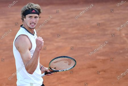 Alexander Zverev of Germany reacts during his men's singles third round match  against Kei Nishikori of Japan at the Italian Open tennis tournament in Rome, Italy, 13 May 2021.