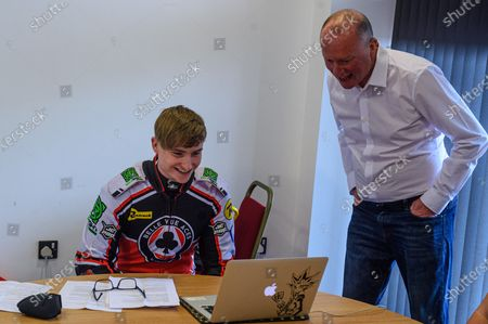 Tom Brennan on the Zoom Call with British Speedway press officer Nigel PearsonDiscovery Networks Eurosport Speedway Season Launch at the National Speedway Stadium, Manchester on Wednesday 12th May 2021