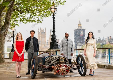 Stock Image of Cast of new Sky Atlantic show The Nevers, (left to right) Ann Skelly, James Norton, Zackary Momoh and Laura Donnelly unveil a Victorian-style car, which is created and driven by Skelly's character Penance Adair in the show, at the launch of the drama on London's Southbank. The series tells the story of a supernatural event that rocks Victorian London and will be available from May 17 on Sky Atlantic and streaming service NOW.