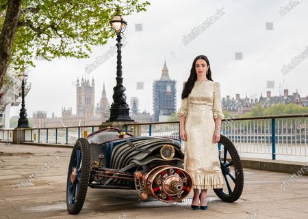 Stock Picture of Cast of new Sky Atlantic show The Nevers, Laura Donnelly unveils a Victorian-style car, which is created and driven by Skelly's character Penance Adair in the show, at the launch of the drama on London's Southbank. The series tells the story of a supernatural event that rocks Victorian London and will be available from May 17 on Sky Atlantic and streaming service NOW.