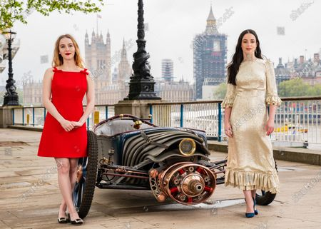 Cast of new Sky Atlantic show The Nevers, (left to right) Ann Skelly and Laura Donnelly unveil a Victorian-style car, which is created and driven by Skelly's character Penance Adair in the show, at the launch of the drama on London's Southbank. The series tells the story of a supernatural event that rocks Victorian London and will be available from May 17 on Sky Atlantic and streaming service NOW.