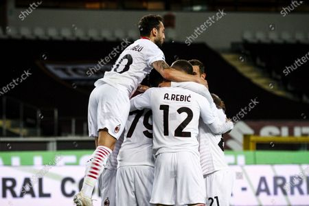 Milan midfielder Franck Kessie (79) celebrates with his teammates after scoring his goal to make it 0-2 during the Serie A football match n.36 TORINO - MILAN on May 12, 2021 at the Stadio Olimpico Grande Torino in Turin, Piedmont, Italy. Final result: Torino-Milan 0-7. Sporting stadiums around Italy remain under strict restrictions due to the Coronavirus Pandemic as Government social distancing laws prohibit fans inside venues resulting in games being played behind closed doors.