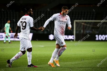 Milan defender Theo Hernandez (19) celebrates with Milan midfielder Franck Kessie (79) after scoring his goal to make it 0-1 during the Serie A football match n.36 TORINO - MILAN on May 12, 2021 at the Stadio Olimpico Grande Torino in Turin, Piedmont, Italy. Final result: Torino-Milan 0-7. Sporting stadiums around Italy remain under strict restrictions due to the Coronavirus Pandemic as Government social distancing laws prohibit fans inside venues resulting in games being played behind closed doors.