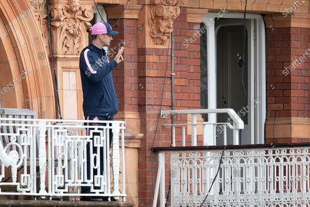 Peter Handscombe, Middlesex CCC receives some information from the umpires in terms of potential start during Middlesex CCC vs Hampshire CCC, LV Insurance County Championship Group 2 Cricket at Lord's Cricket Ground on 13th May 2021