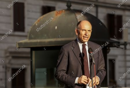 Enrico Letta secretary of Democratic party attends at the demonstration promoted by Jewish community of Rome in solidarity to people of Israel in the Portico d' Ottavia in Rome