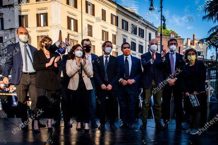 Stock Photo of Maria Elena Boschi, Antonio Tajani, Ruth Dureghello, Matteo Salvini, Giovanni Toti, Enrico Letta attend at the demonstration promoted by Jewish community of Rome in solidarity to people of Israel in the Portico d' Ottavia in Rome