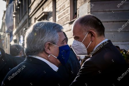 Antonio Tajani vice president of Forza Italia party, Enrico Letta secretary of Democratic party attend at the demonstration promoted by Jewish community of Rome in solidarity to people of Israel in the Portico d' Ottavia in Rome