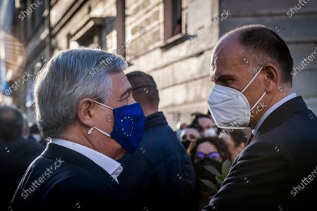 Stock Photo of Antonio Tajani vice president of Forza Italia party, Enrico Letta secretary of Democratic party attend at the demonstration promoted by Jewish community of Rome in solidarity to people of Israel in the Portico d' Ottavia in Rome